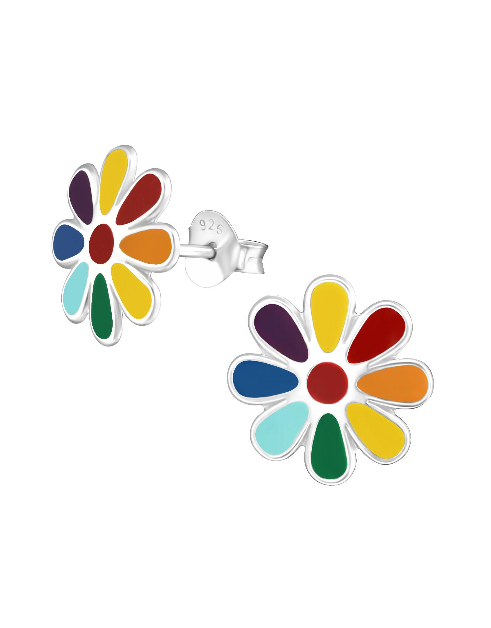 Stekertjes zilver bloem regenboog