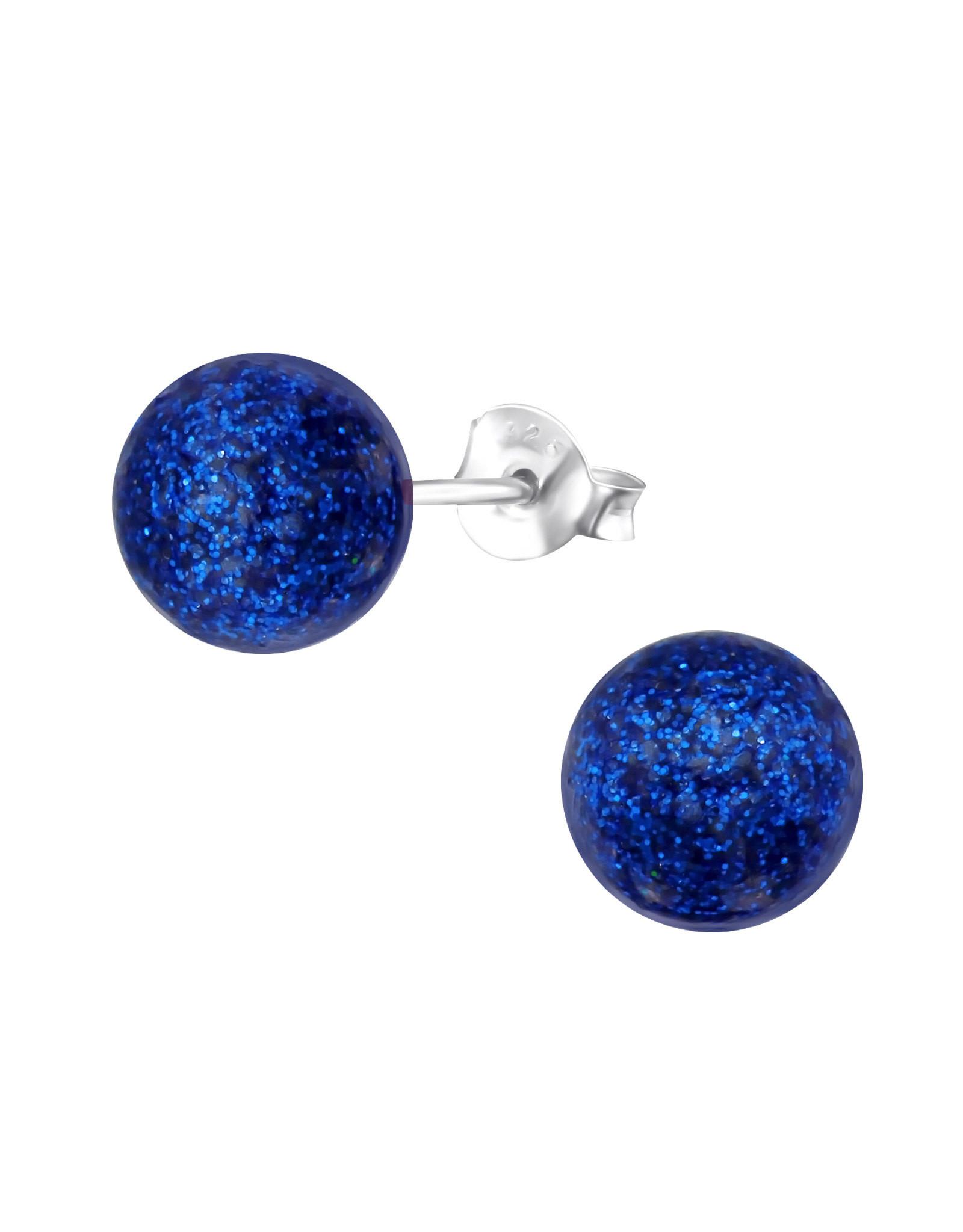 Stekertjes zilver bolletje 6mm glitter blauw