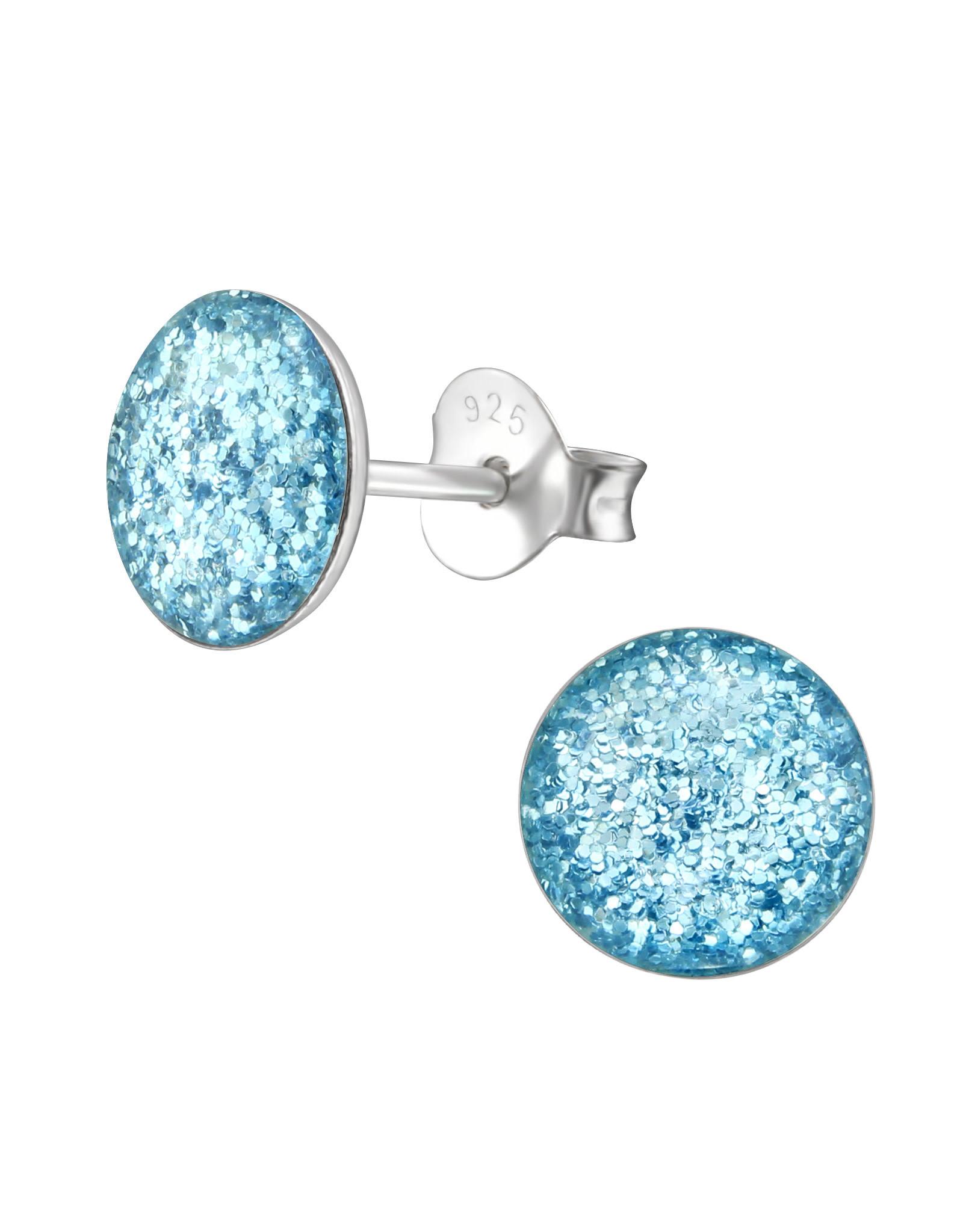 Stekertjes zilver rond 10mm zilver blauw