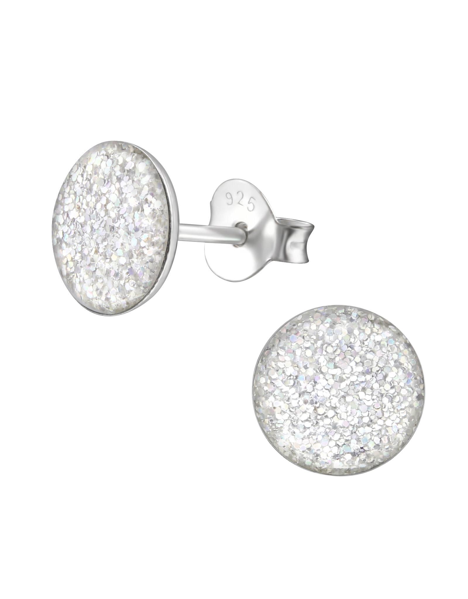 Stekertjes zilver rond glitter zilver 10mm