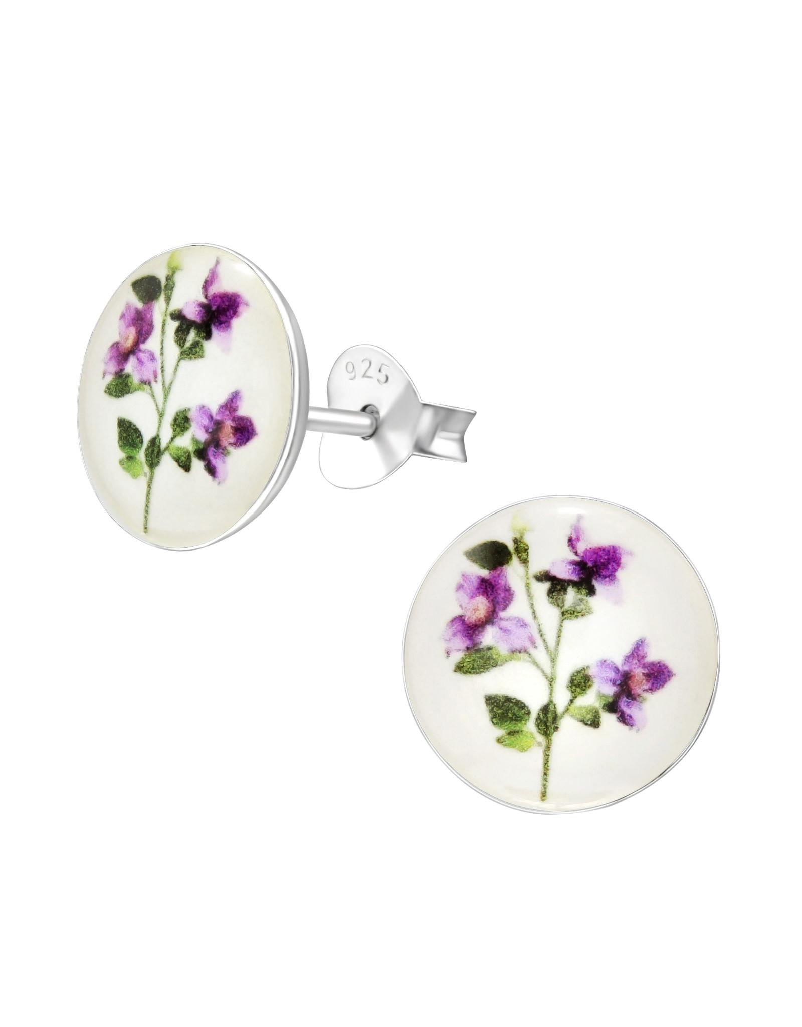 Stekertjes zilver rond bloemetjes 10mm