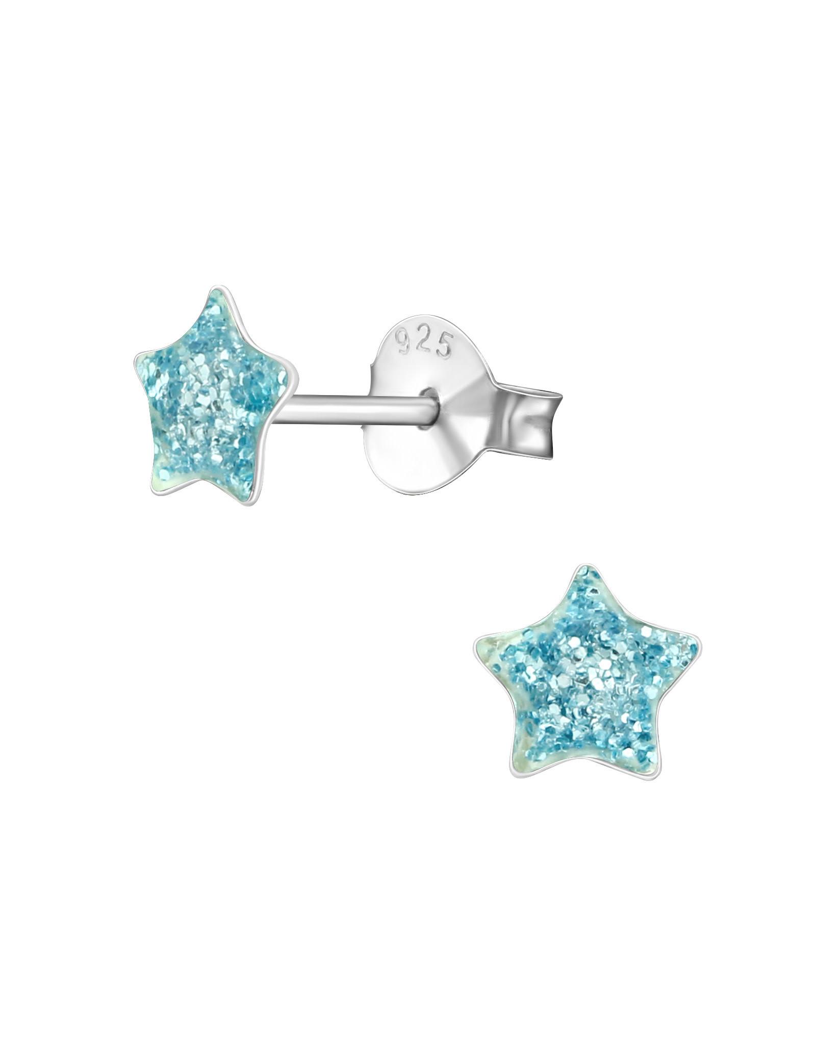 Stekertjes zilver ster glitter turquoise