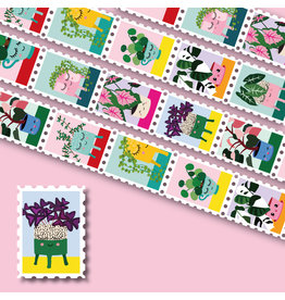 Washi tape postzegels planten