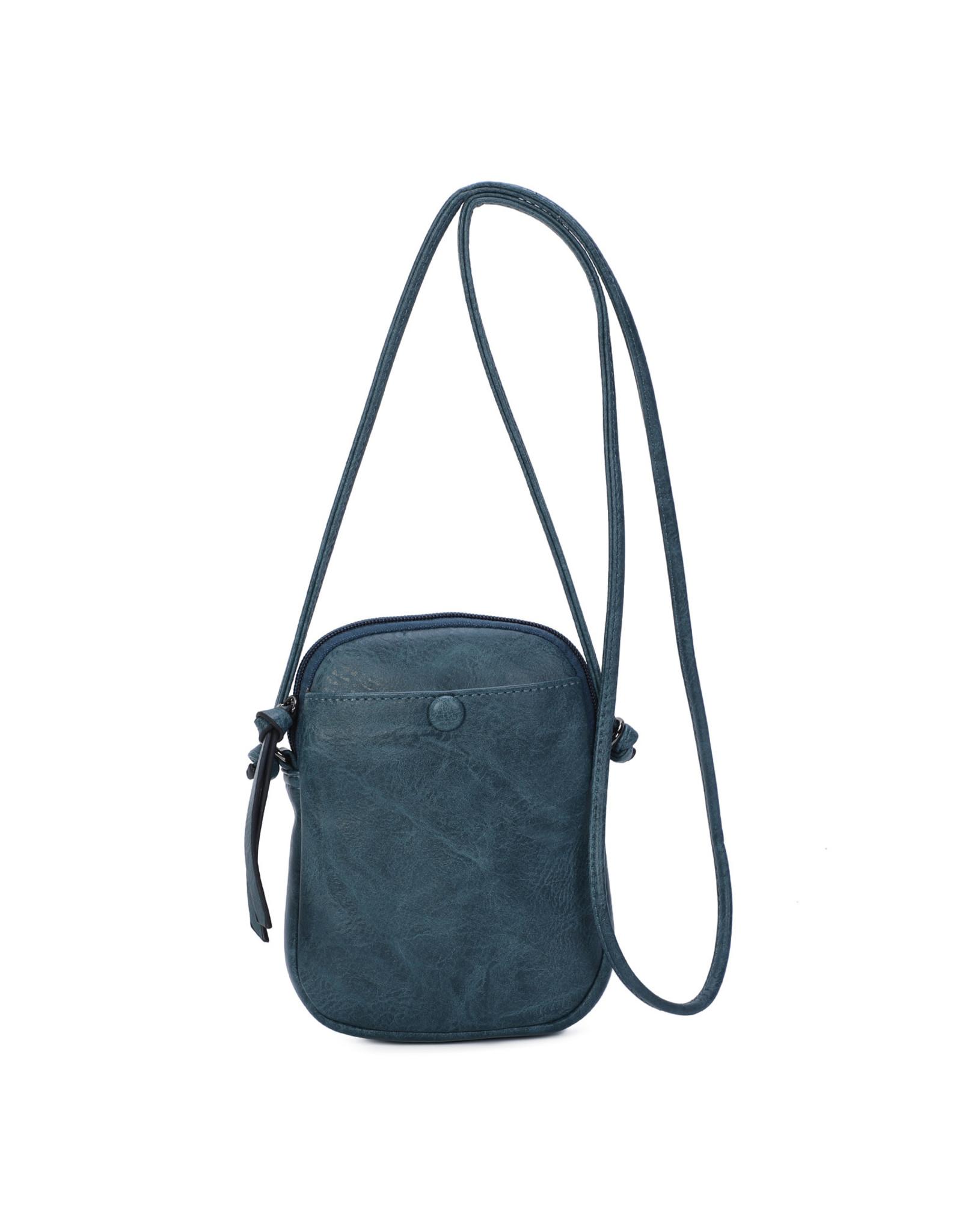 Handtasje retro knop grijsblauw