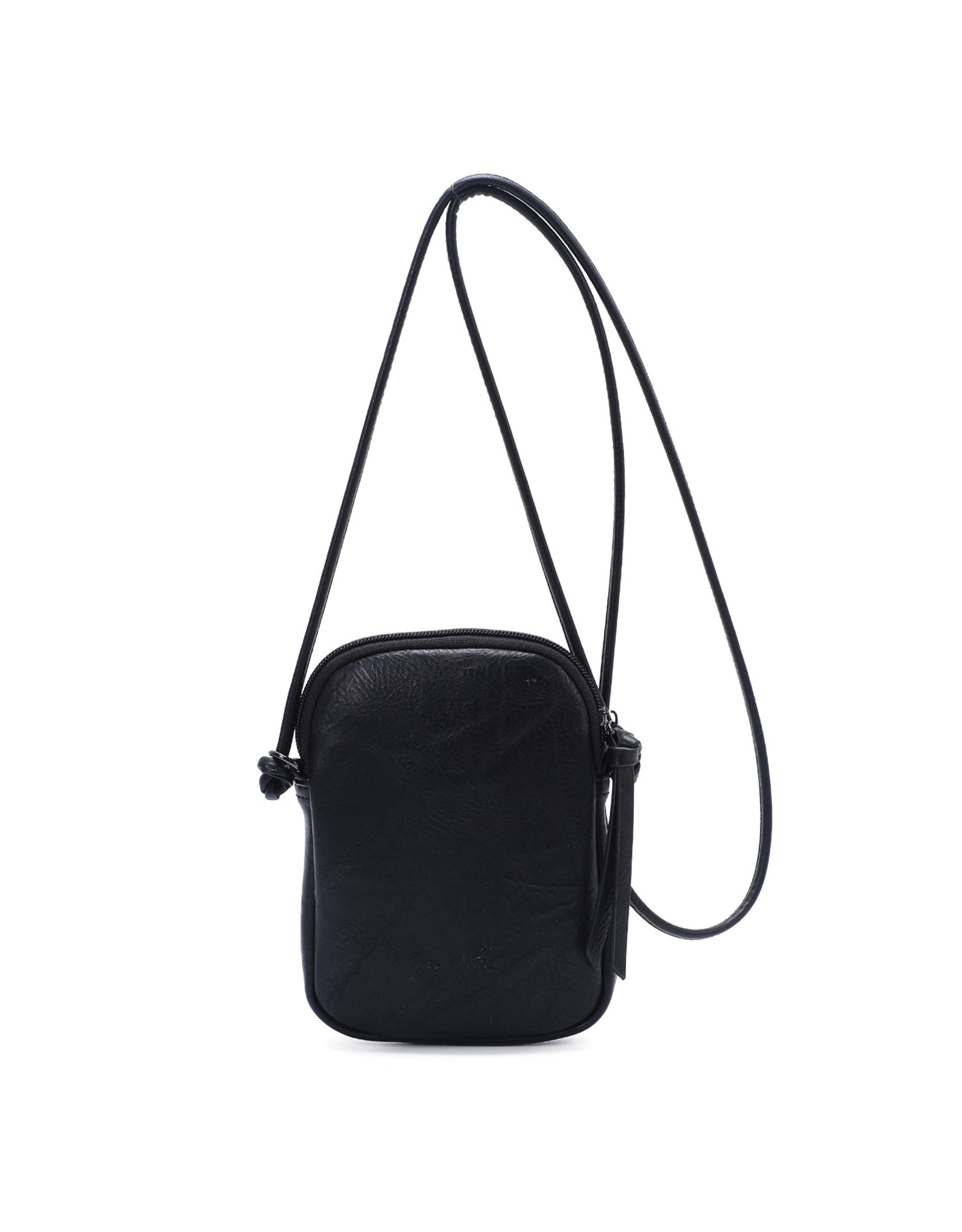 Handtasje retro knop zwart