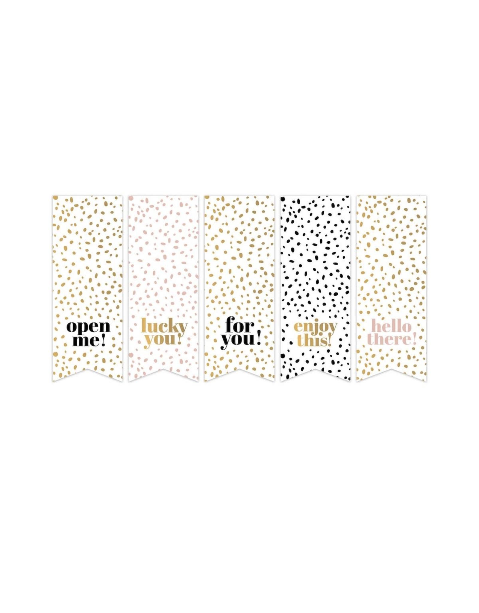 Stickers 5st. vlaggetjes stippen goudfolie