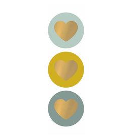Stickers 3st. rond limoen/goud