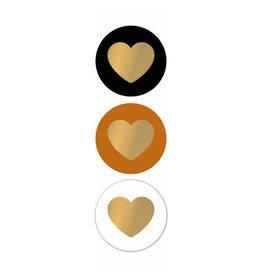 Stickers 3st. rond hart zwart/goud
