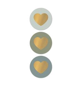 Stickers 3st. rond hart groen/goud