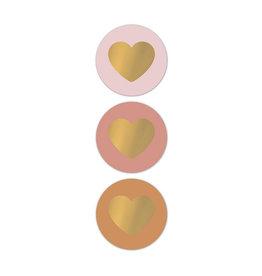 Stickers 3st. rond hart roze/goud