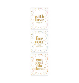 Stickers 3st. vierkant goudfolie