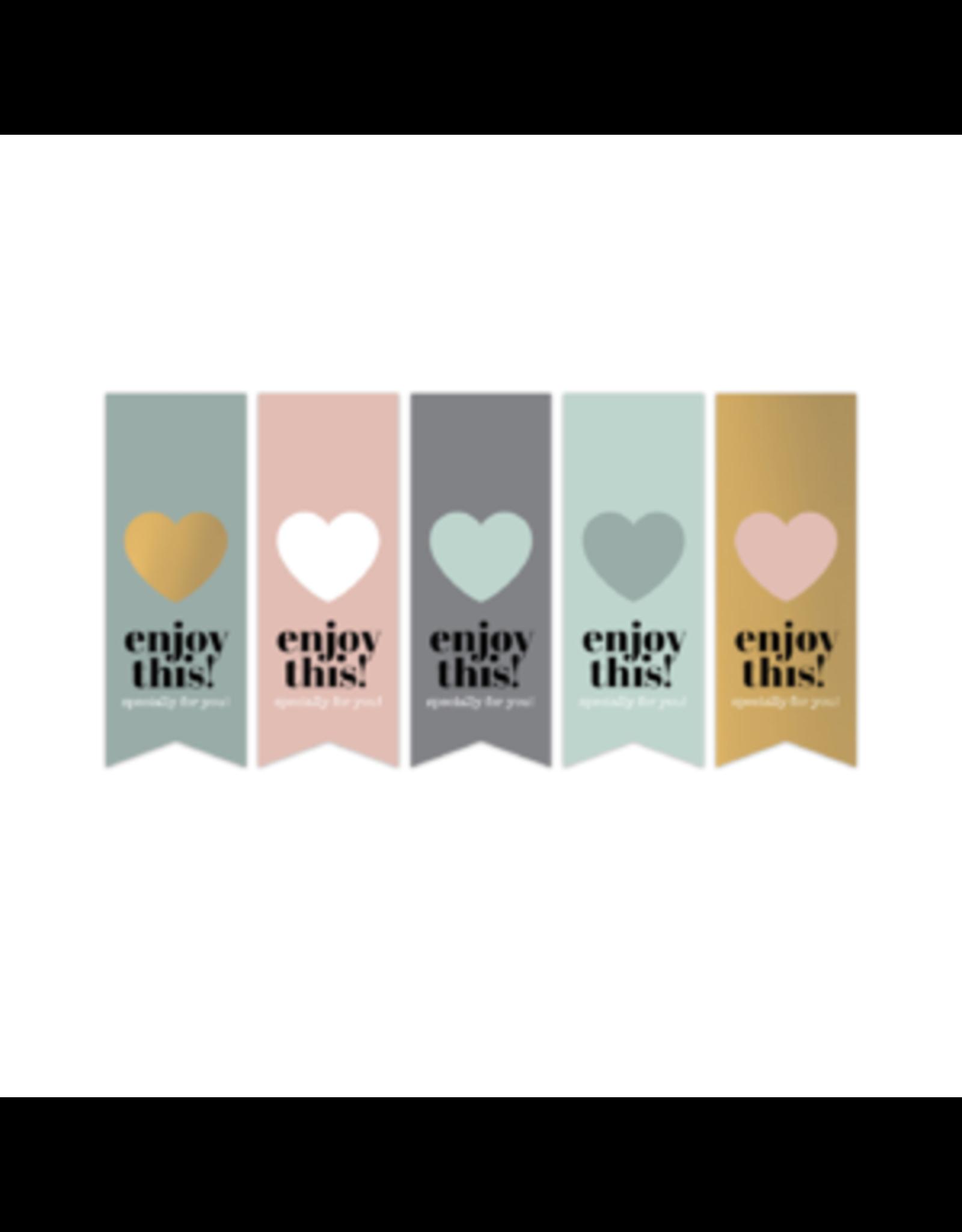 Stickers 5st. vlaggetjes hart goudfolie
