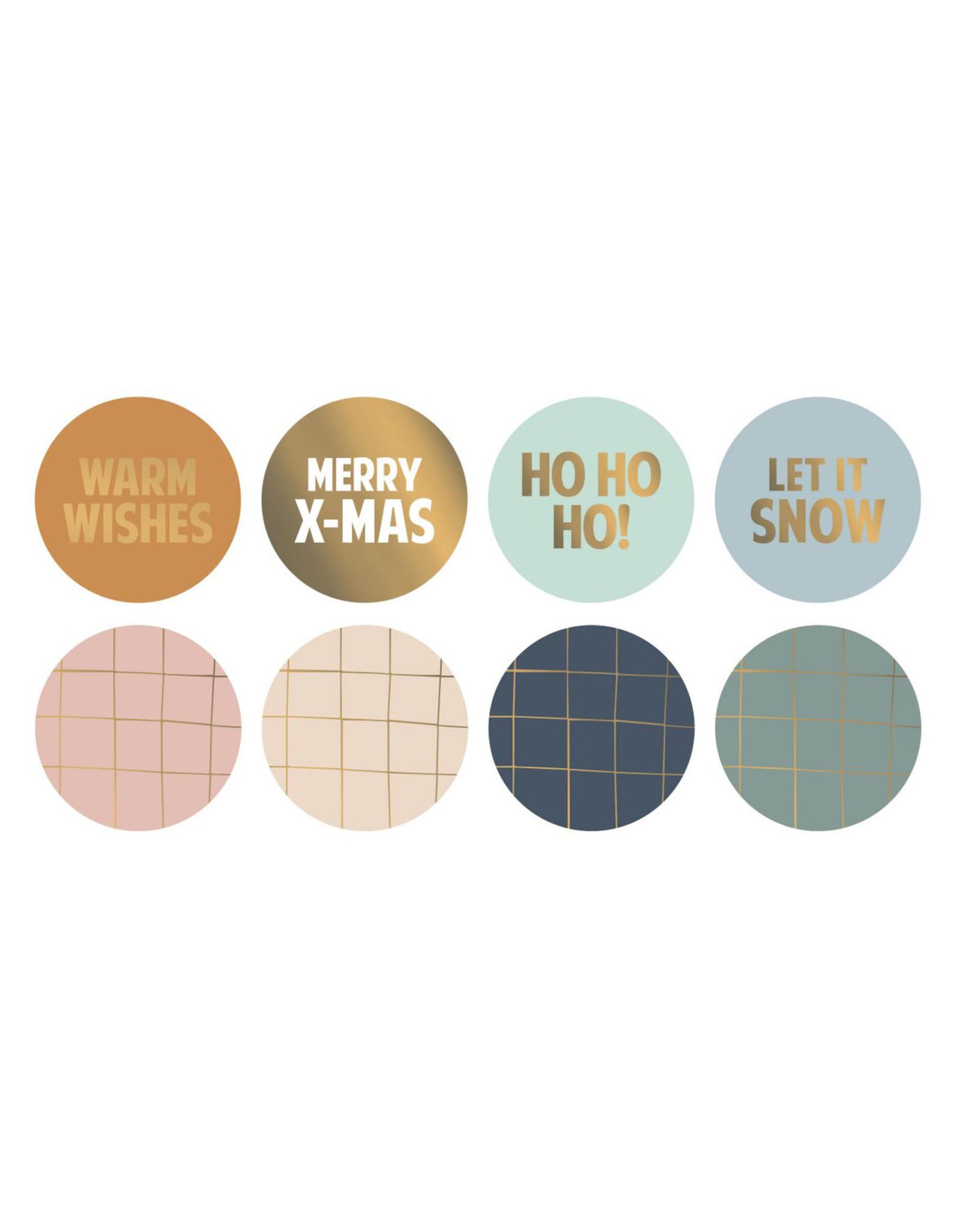 Stickers 8st. kerstwens goudfolie