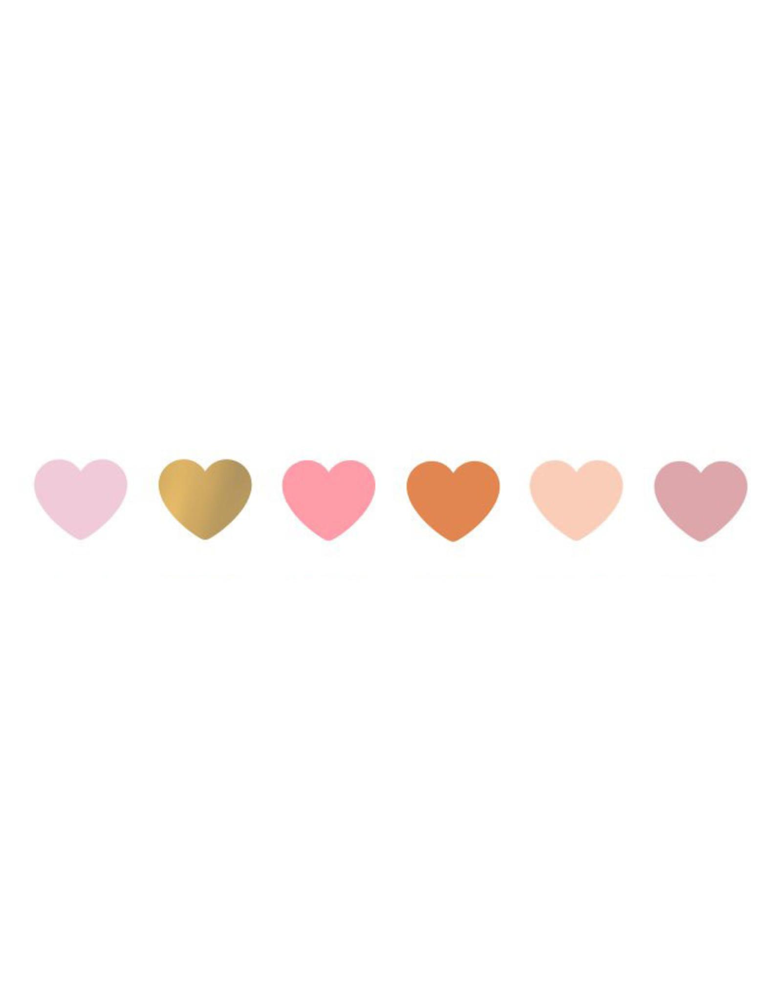 Stickers 6st. hart mini roze/goud