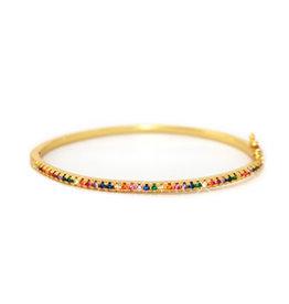 Armband goudkleurig regenboog zirkonia