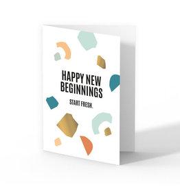 Kaart met enveloppe Happy new beginnings