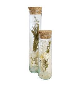 Droogbloemen cilinder breed groen ecru duo