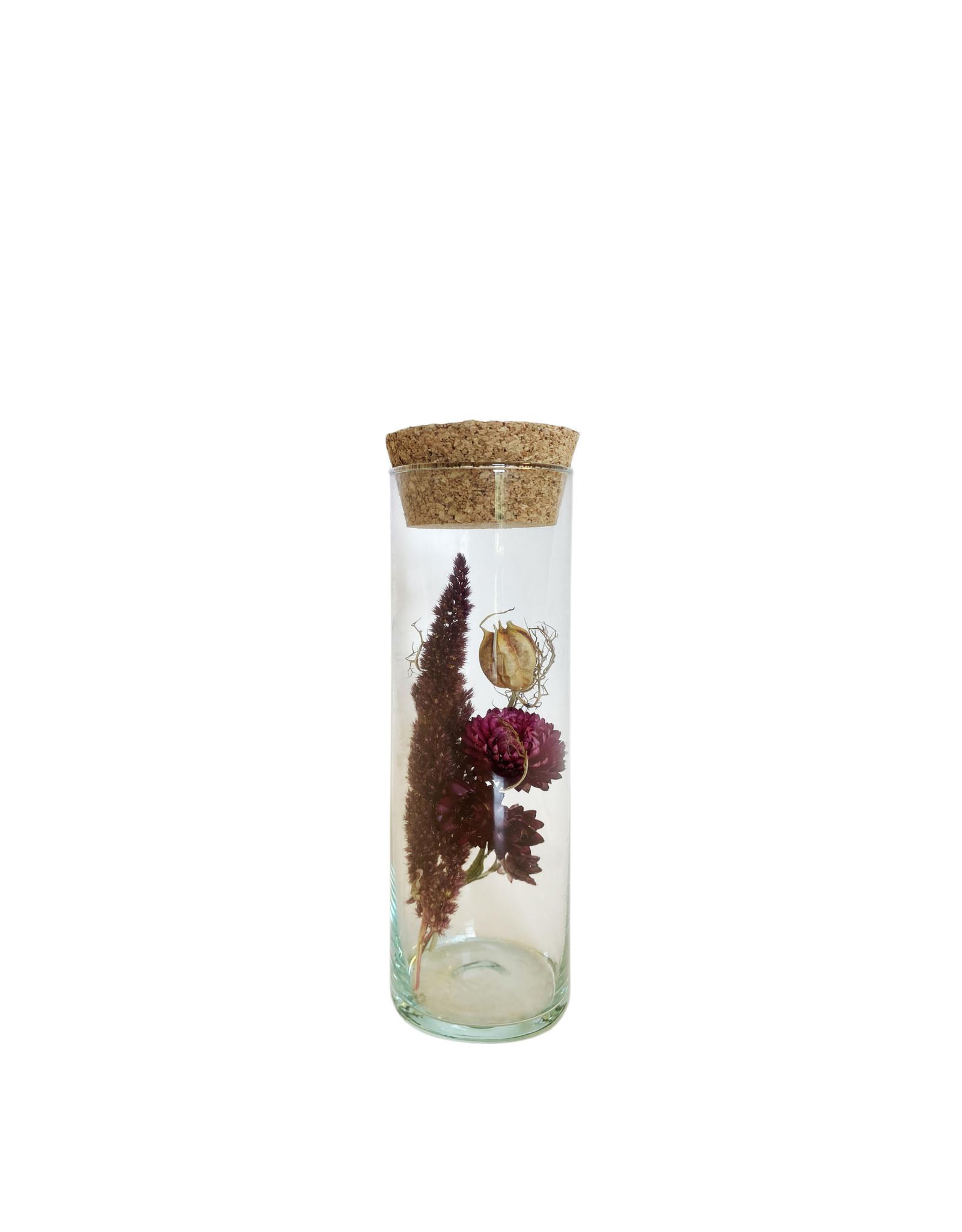 Droogbloemen cilinder breed rood roze 20cm