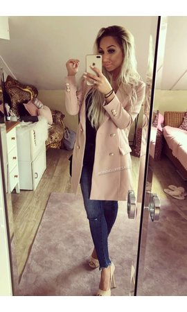 PINK - 'KIMMY' - GOLD BUTTON BLAZER