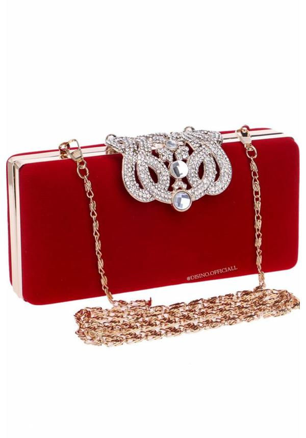 RED - 'MAXIMA' APPLICATION VELOURS BAG