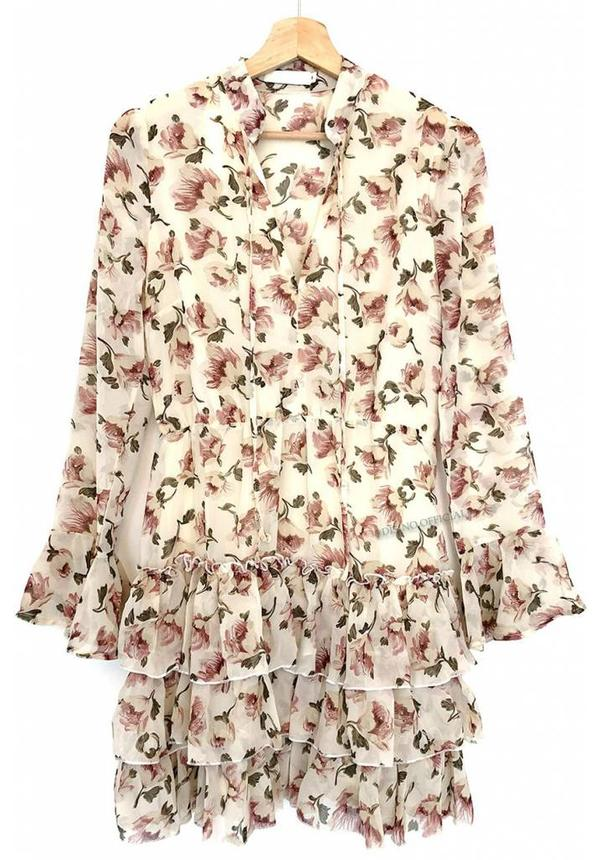 CREME - 'LILY' FLORAL RUFFLE DRESS