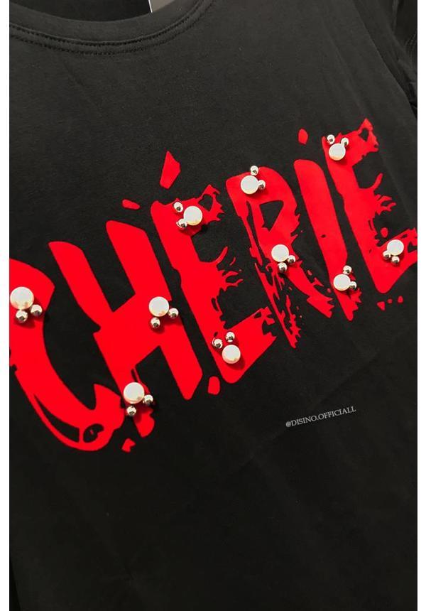 BLACK - CHERRY STUDS & PEARLS - BASIC TEE