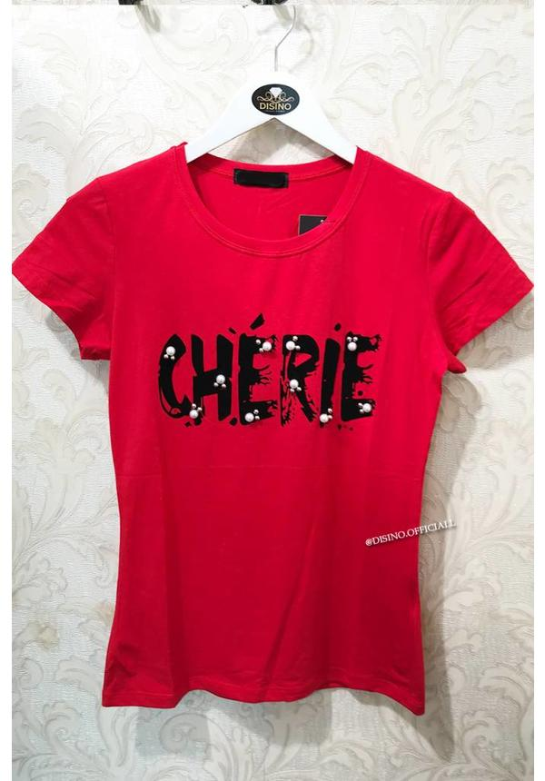 RED - CHERRY STUDS & PEARLS - BASIC TEE