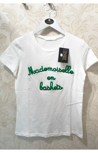 WHITE GREEN - MADEMOISELLE - BASIC TEE