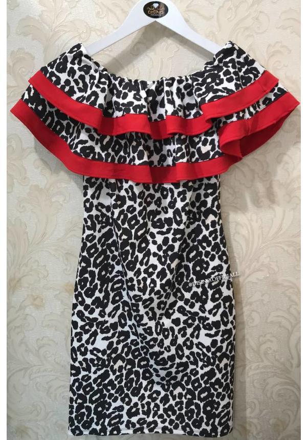 WHITE - 'JENNY' - LEOPARD RUFFLE OFF SHOULDER DRESS