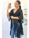 BLACK - 'RUBY' KIMONO FLOWER LACE