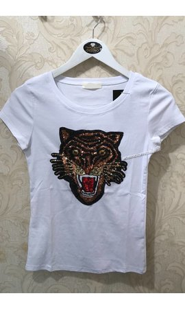 WHITE - INSPIRED TIGER HEAD - BASIC TEE