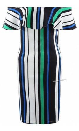 GREEN - 'CHARLOTTE' - STRIPED OFF SHOULDER DRESS
