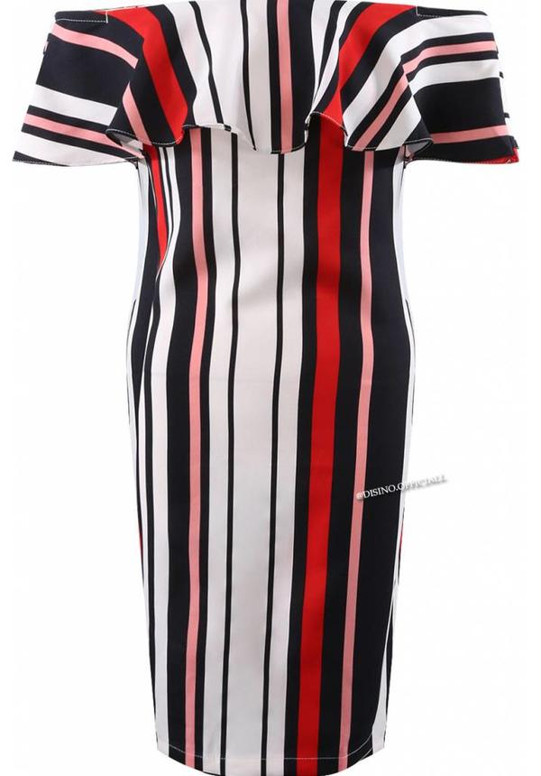 RED - STRIPED OFF SHOULDER DRESS
