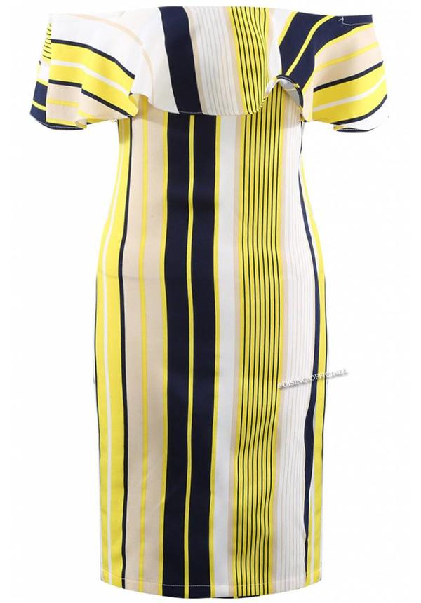 YELLOW - 'CHARLOTTE' STRIPED OFF SHOULDER DRESS