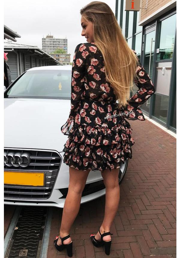 BLACK - 'LILY' FLORAL RUFFLE DRESS