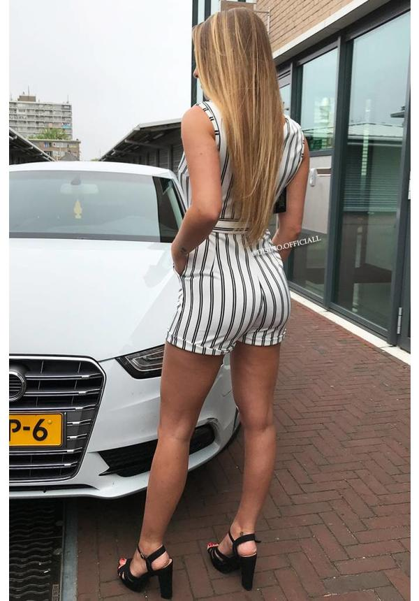 WHITE - STRIPED CLASSY PLAYSUIT