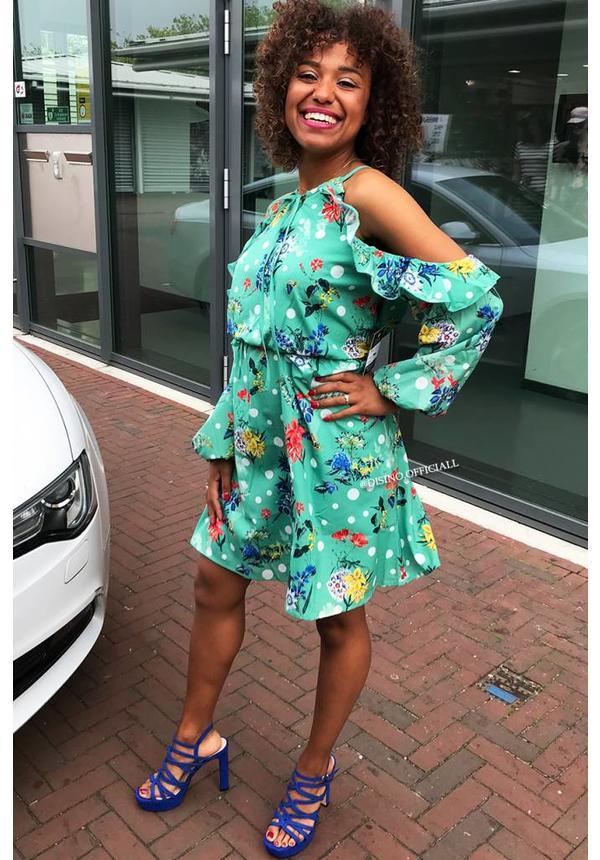 MINT - 'ROSANNA' FLORAL OPEN SHOULDER DRESS