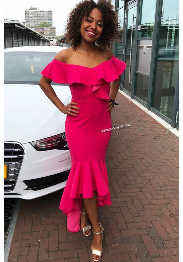 FUCHSIA - 'ALYSSA' OFF SHOULDER MERMAID DRESS