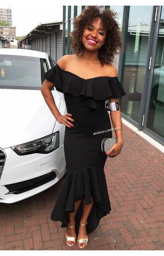 BLACK - 'ALYSSA' OFF SHOULDER MERMAID DRESS