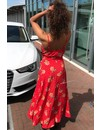 RED - 'ISABELLA' - DOTS 'N FLOWERS MAXI DRESS