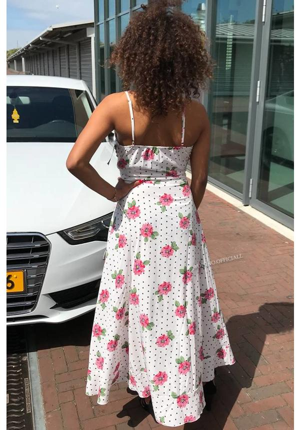 WHITE - 'ISABELLA' - DOTS 'N FLOWERS MAXI DRESS