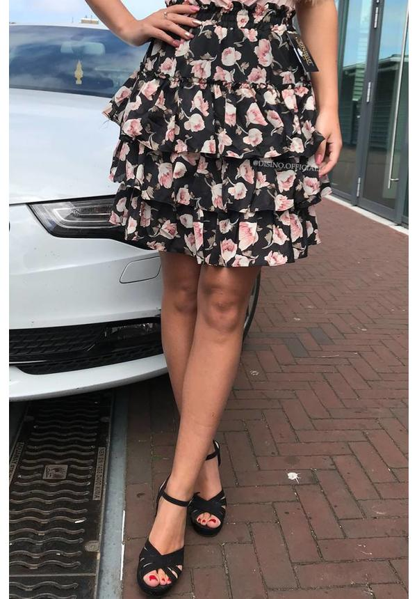 BLACK - 'LILY' - FLORAL RUFFLE SKIRT