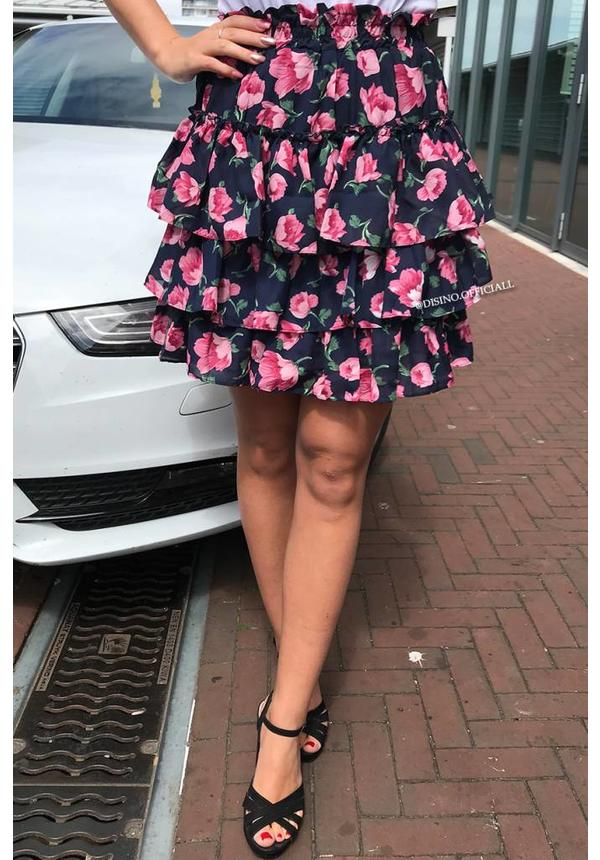 NAVY - 'LILY' - FLORAL RUFFLE SKIRT