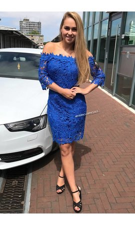 ROYAL BLUE - 'SARAH' CROCHET LACE OFF SHOULDER DRESS