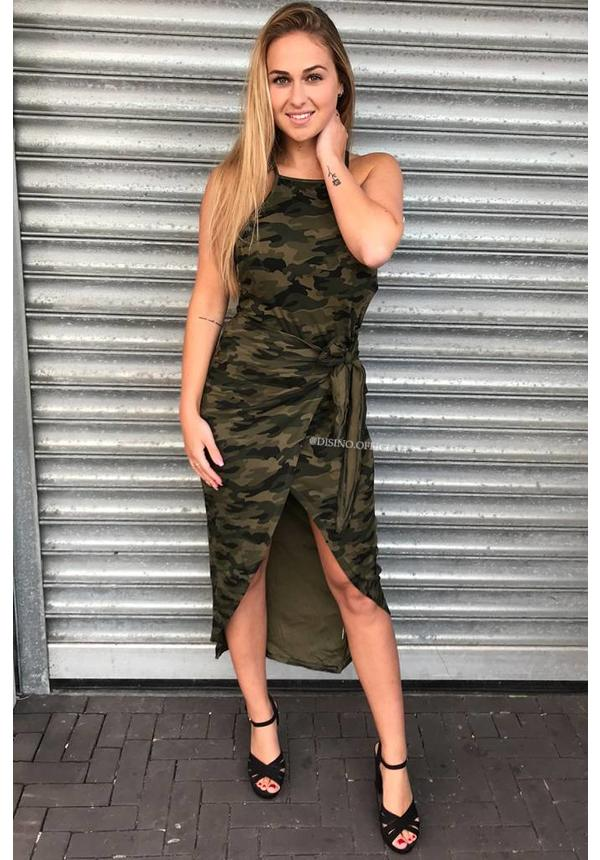 'BAILEY' - ARMY PRINT WRAP DRESS
