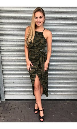 'BAILEY' - ARMY PRINT WRAP DRESS