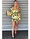 YELLOW - 'ALEX' FLORAL OVERLAY PLAYSUIT