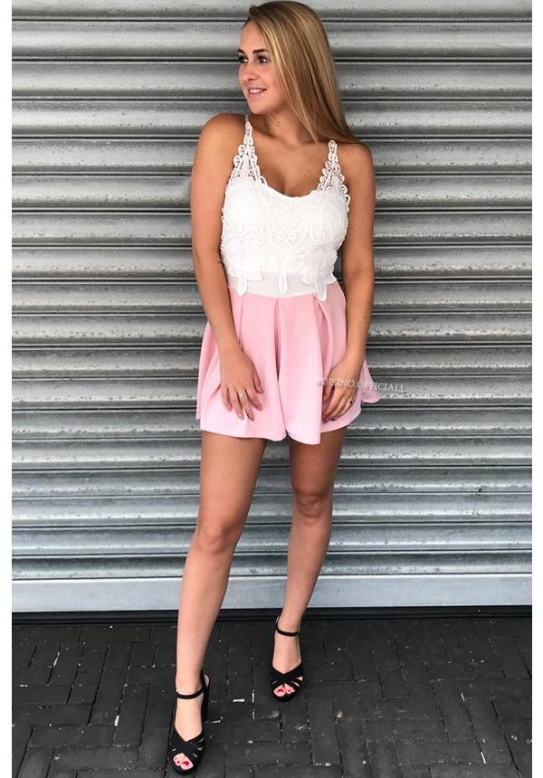 PINK - 'SARINA' LACE PLAYSUIT