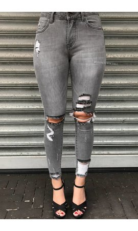 QUEEN HEARTS JEANS - GREY - RIPPED SKINNY CROP RIPS DETAIL 9205-3