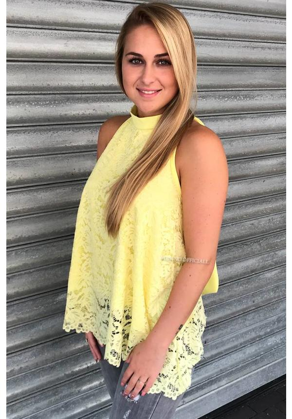 YELLOW - 'JANNY' - LACE OPEN BACK BOW TOP